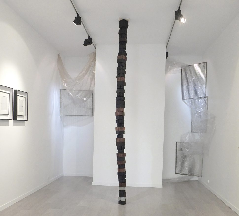 Archives Naturelles, Wood, smoky sandstone, charcoal, cement, 2015, 12x12x320cm