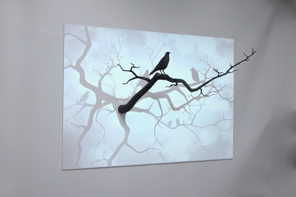 Pascal Haudressy, Crow, 2013, Mixed technique, resin, painting, wood and video projection, 280 x 170 cm, numeric loop