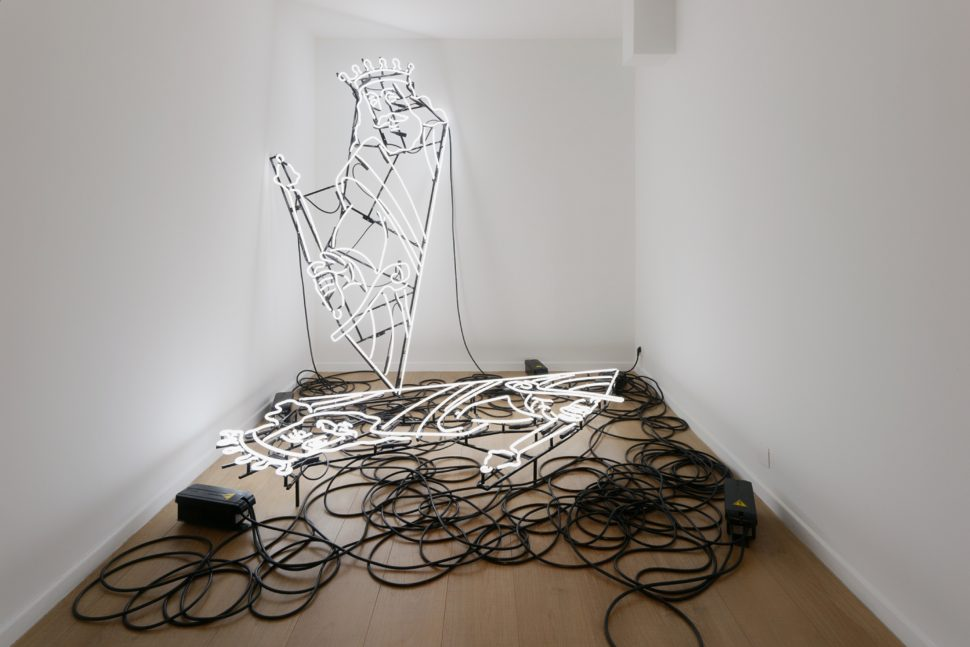 Jonathan Sullam, David, 2014, Black metal structure and neon installation, 200 x 200 x 35 cm
