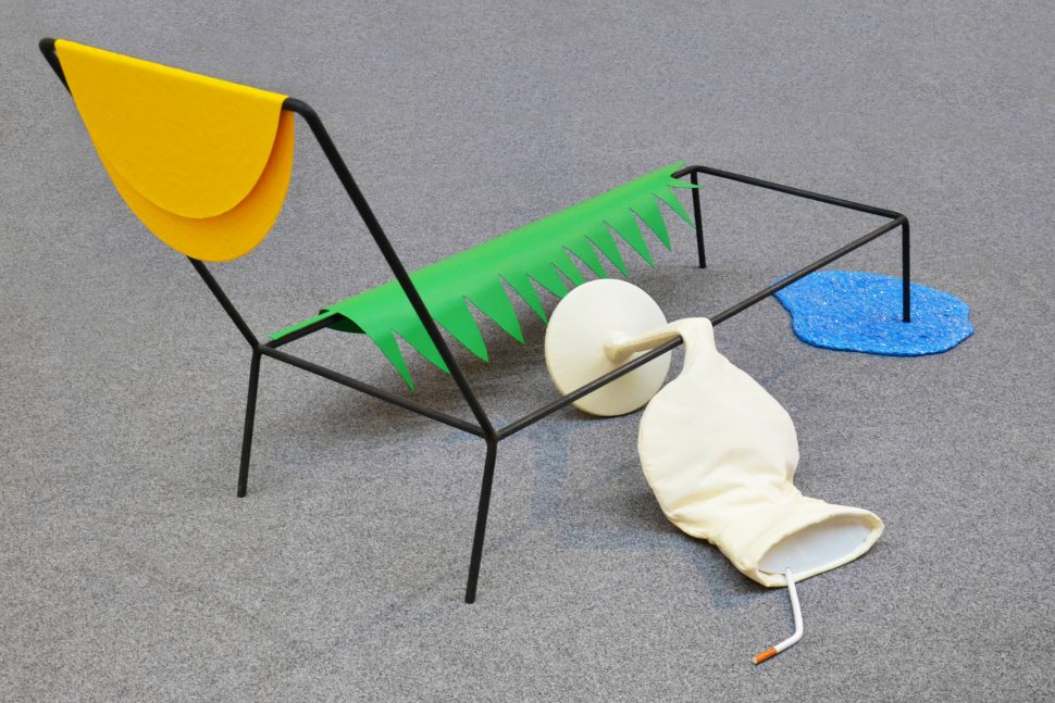Jessica Lajard, Hangover, 2014, forged steel, painted aluminium, acrylic paint, velvet, porcelaine and glazed ceramics, 234 x 137 x 110 cm