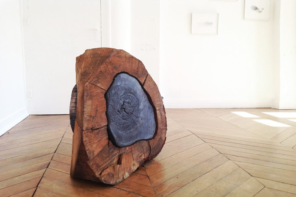 Keen Souhlal, Pyrophyte 1, 2014, Wood and smoky sandstone, 68 x 78 x 20 cm