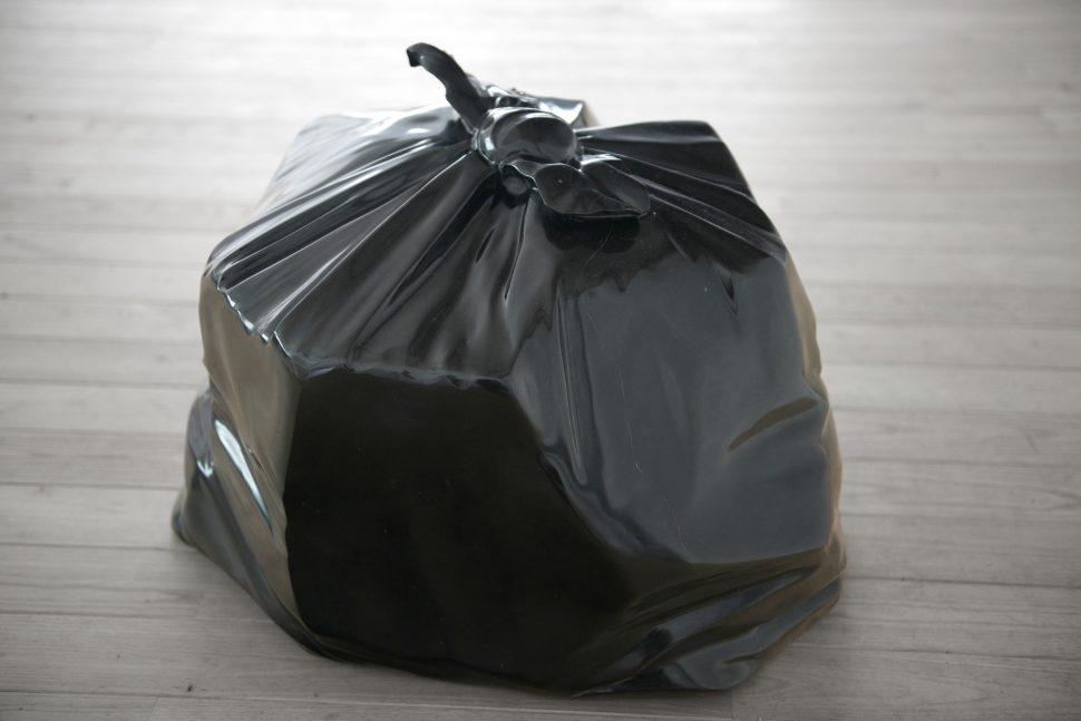 Jonathan Sullam, Still alive, 2014, Black Marzy marble bin bag, 50 x 50 x 45 cm