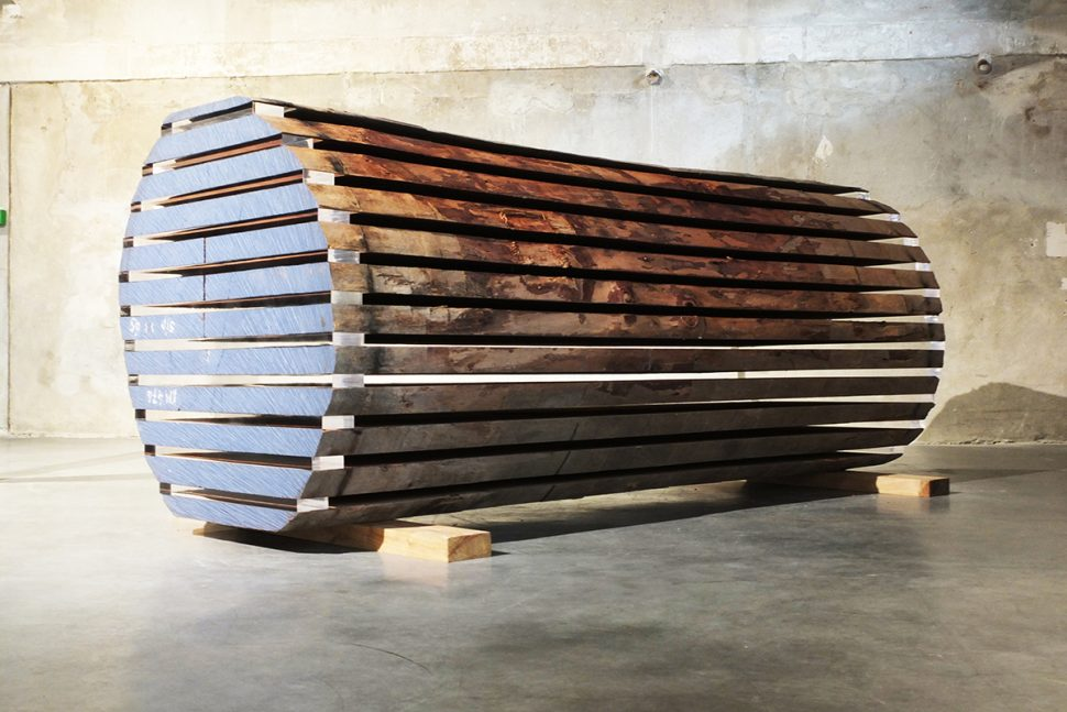Keen Souhlal, Ultramarine, 2014, Wood, plexiglass and cristal, 240 x 120 x 140 cm