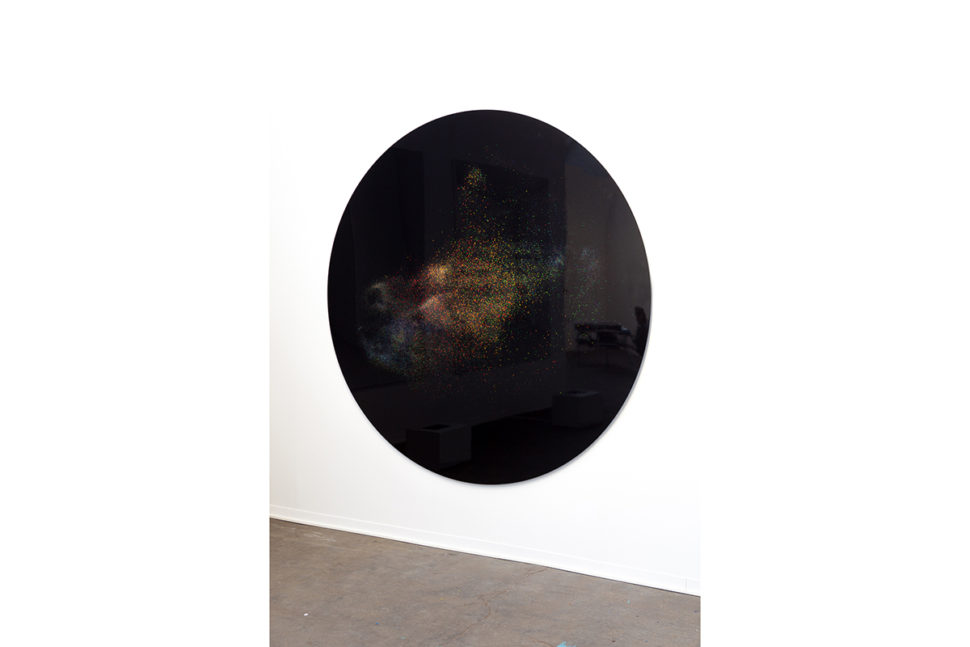 Jonathan Sullam, Champagne taste lemonade money, 2015, Aluminum black coated disk, holographic powder and light projector, 200 x 200 cm, Art Brussels 2017 (BE)