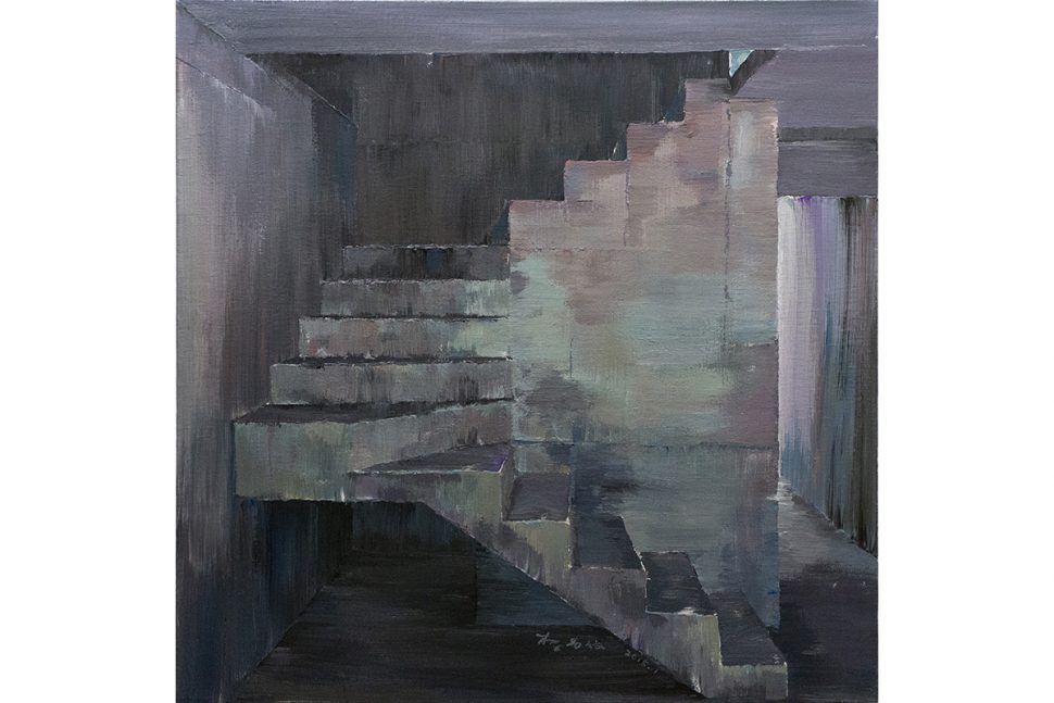 Li Yiwen, Stair, 2015, Acrylic on canvas, 100 x 100 cm