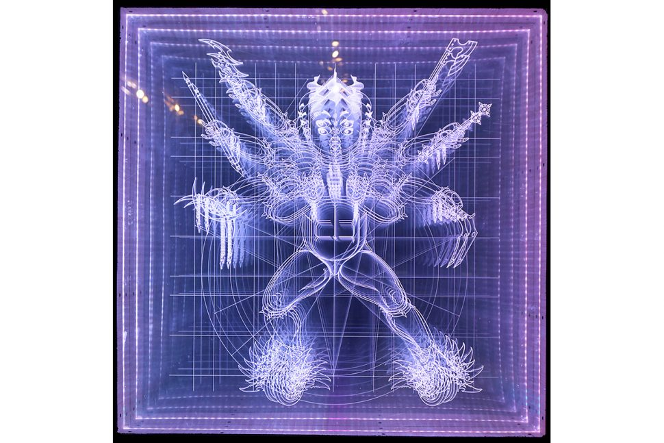 Shi Jinsong, Nezha Lighting Device, 2016, acrylic line, LED light, 100 x 100 x 10 cm