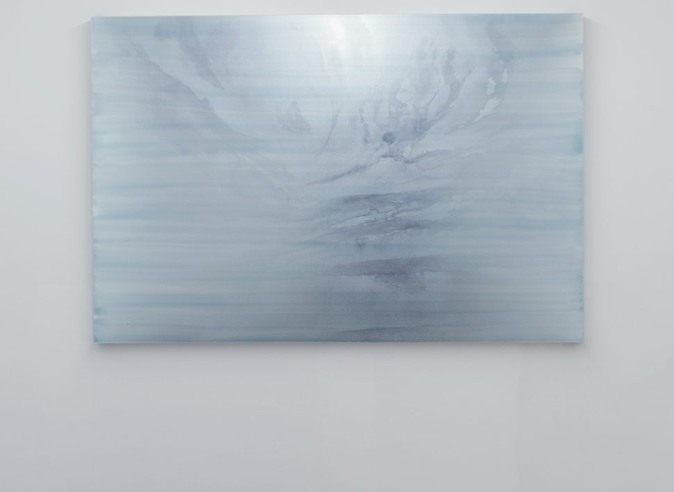 Jérôme Robbe, Sans titre/ L'air de rien, 2016, Colored varnish on plexiglass aluminium, 150 x 100 cm, Exhibition view of
