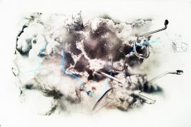 """Donato Piccolo, Explosion of """"General Electric"""", 2015, Drawing on paper, 165 x 108 cm"""