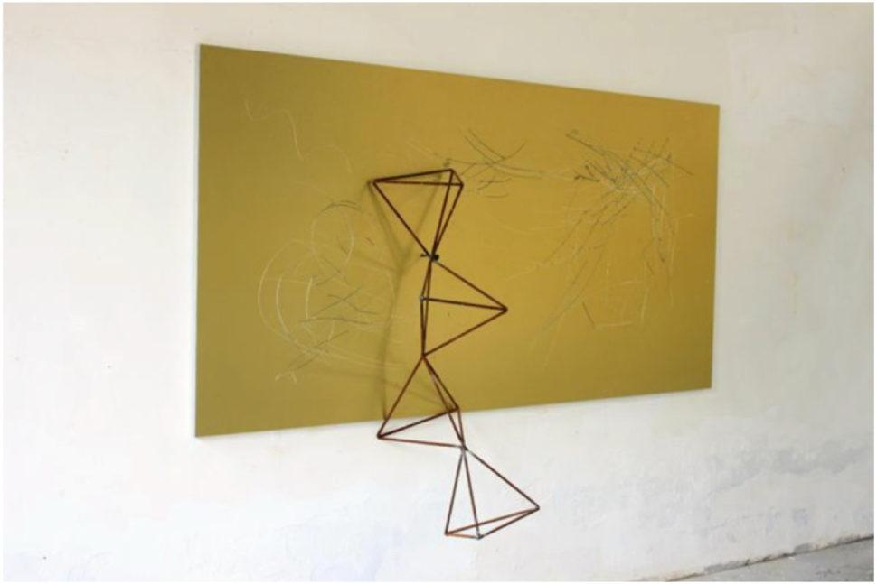Yang Xinguang, Golden, 2014, Aluminium plastic board, iron, wood, 244 x 160 x 53 cm