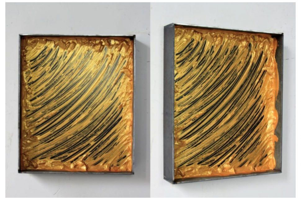 Yang Xinguang, Untitled (Iron box and gold), 2014, Acrylic color, 48 x 40 x 8 cm