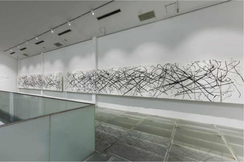 Yang Xinguang, View of installation, Whipped, 2013, Ink on paper, 150 x 500 cm