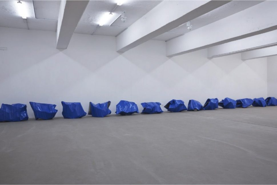 Yang Xinguang, Blue, 2013, Steel tile, Variable dimensions
