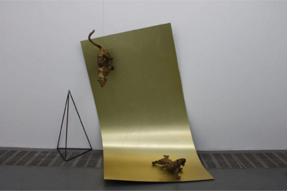 Yang Xinguang, Two Tigers, 2012, Aluminium composite panel, 210 x 190 x 100 cm