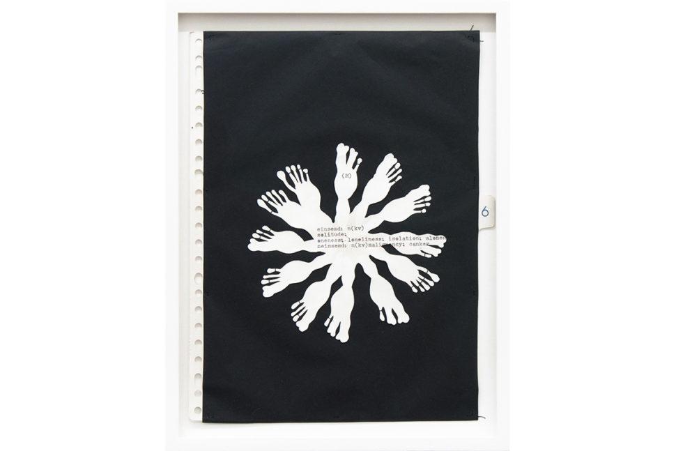 Gudny Rosa Ingimarsdottir, (m), 2017, Sewing, typewriting and carbon on diverse paper, 24 x 33 cm