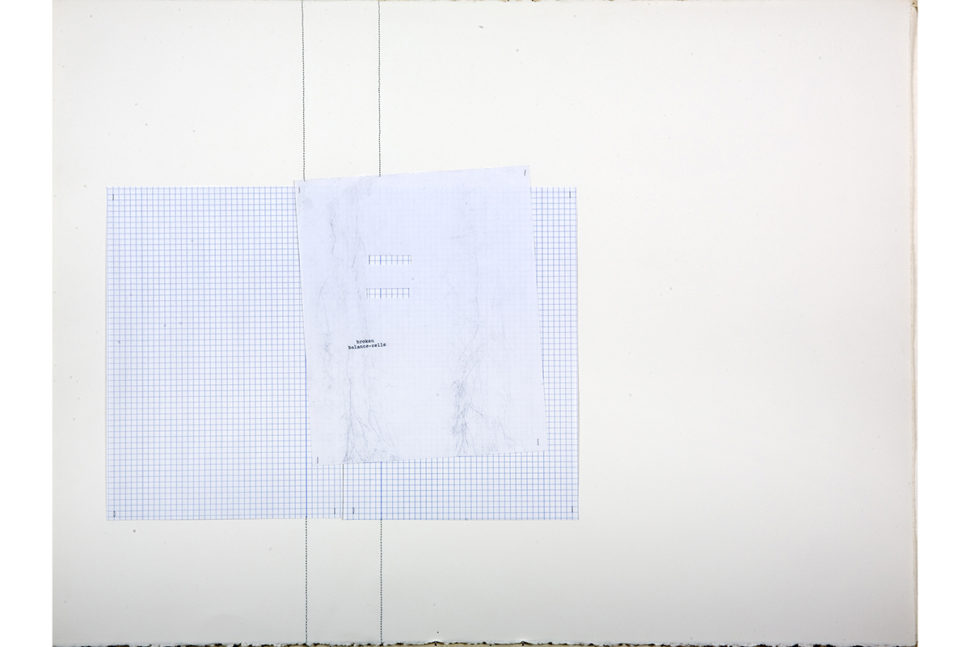 Gudny Rosa Ingimarsdottir, broken..., 2017, Sawing, carbotraces and typewriting on divers papers, 57,3 x 76 cm