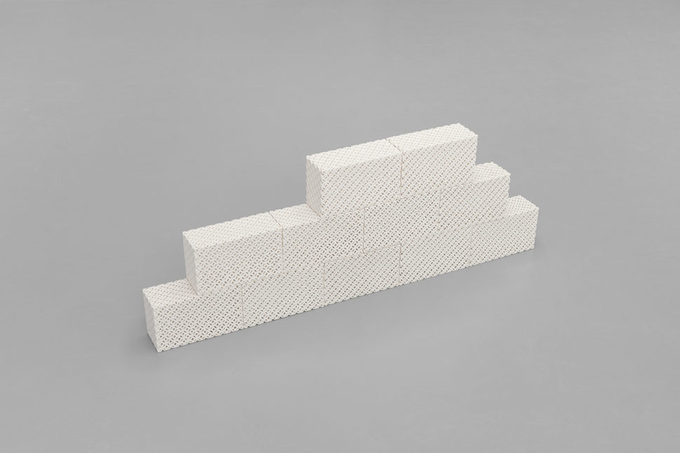 Keen Souhlal, Untitled, 2017, 11 white porcelain bricks, steel, 63 x 37 x 12 cm