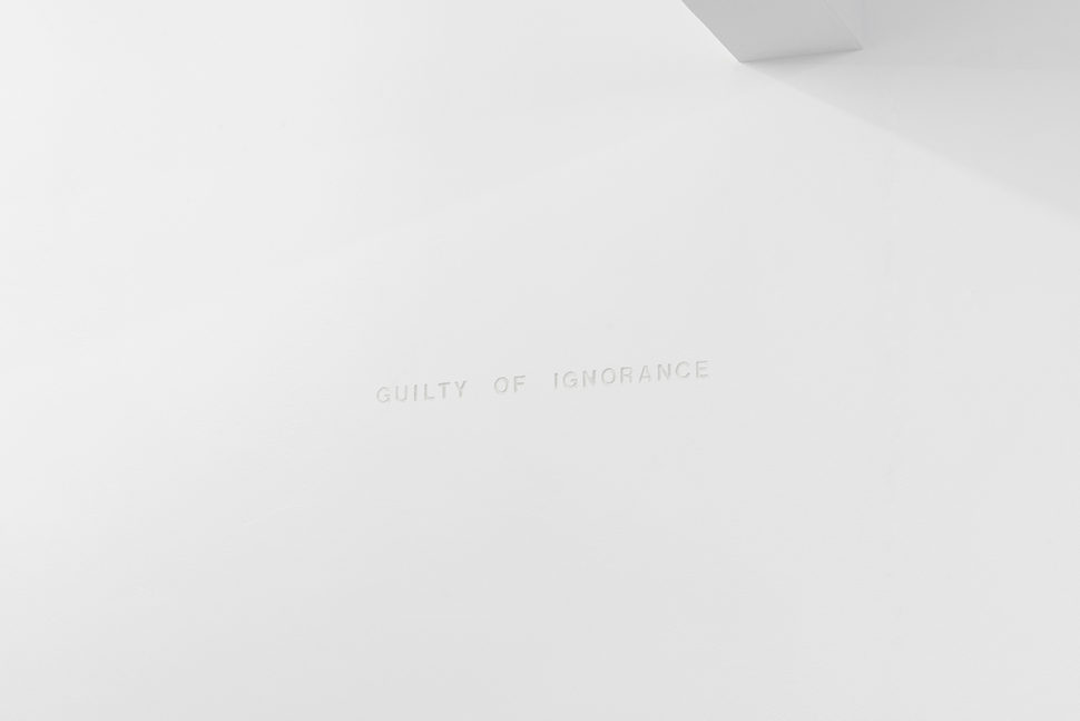Gudny Rosa Ingimarsdottir, Guilty of ignorance, 2018, Carving on wall, Variable dimensions