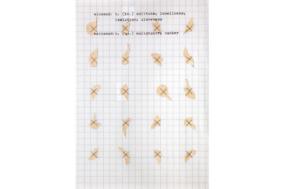 Gudny Rosa Ingimarsdottir, Flower fragments, 2018, Wallpaper, sawing, gouache, typewriting on paper14,8 x 21 cm