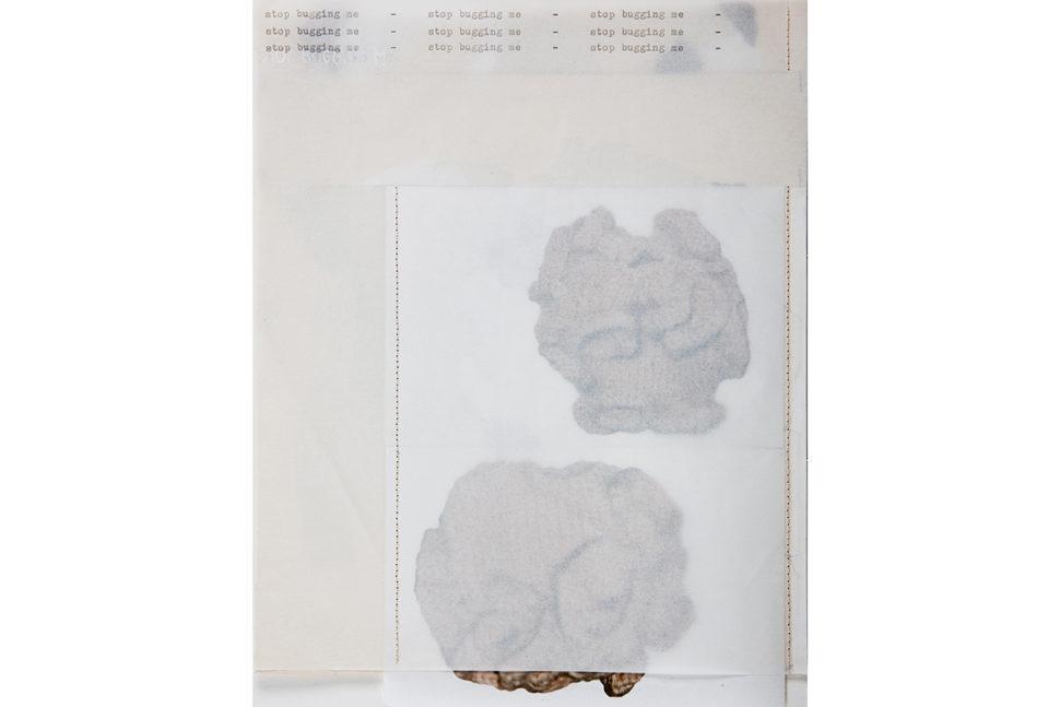 Gudny Rosa Ingimarsdottir, stop..., 2018, Carved photo, gouache, sawing, typewriting on divers papers, 21 x 26,8 cm