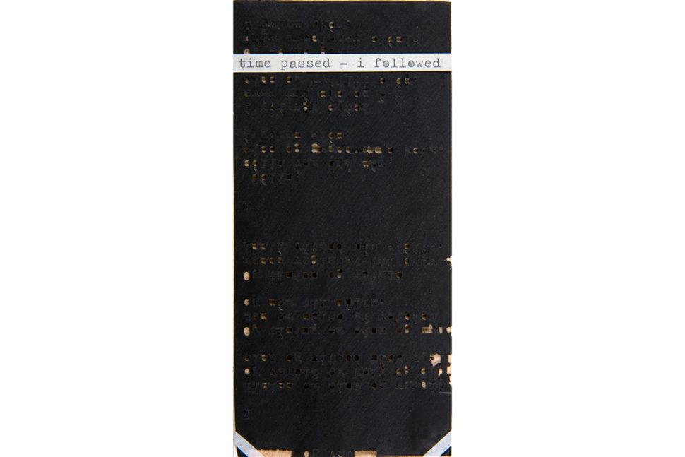 Gudny Rosa Ingimarsdottir, time..., 2016, Carbon, typewriting , sawing on paper and carton, 6,6 x 14,2 cm