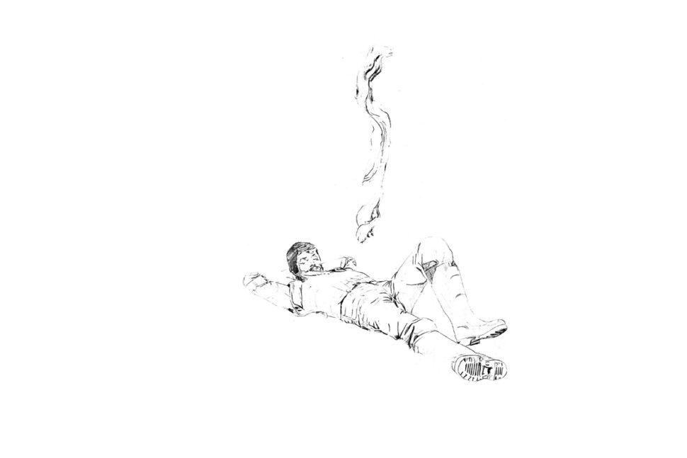 Le dormeur, 2007, Techniques mixtes sur papier, 50 x 100cm