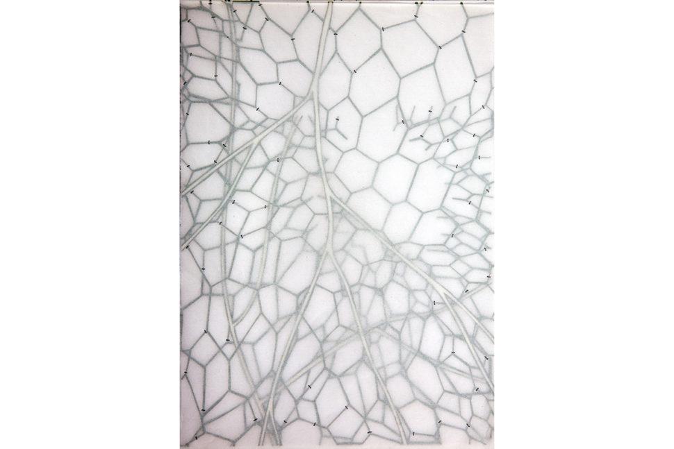 Gudny Rosa Ingimarsdottir, untitled - vitrine vert, 2018, Acryl, carved paper cuts, sawing on divers paper, 21 x 29,7 cm