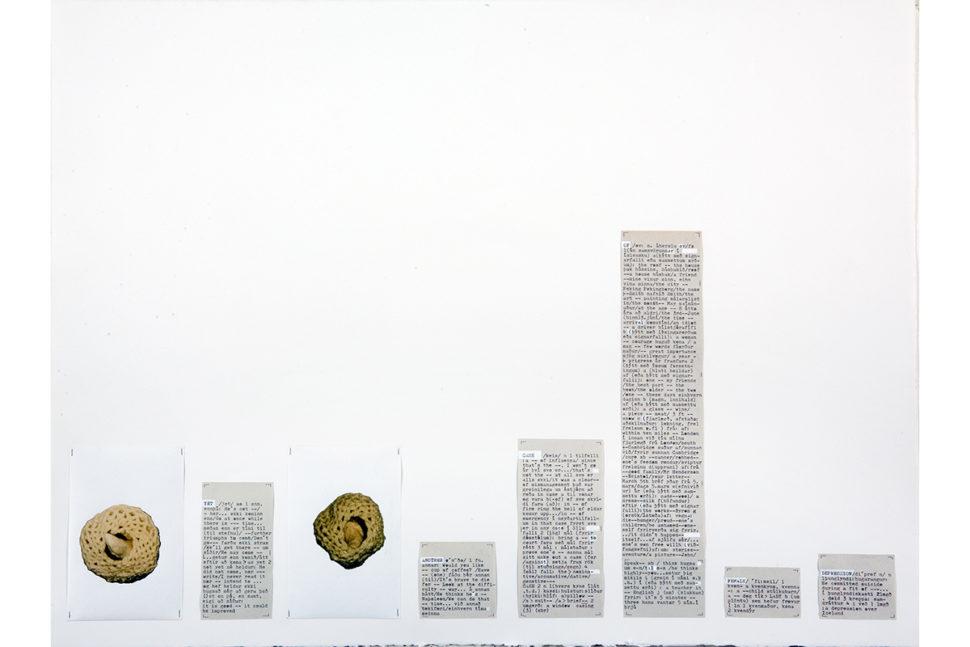 Gudny Rosa Ingimarsdottir, yet...2017, Pealed photos , gouache, typewriting on divers papers, 57,3 x 76 cm