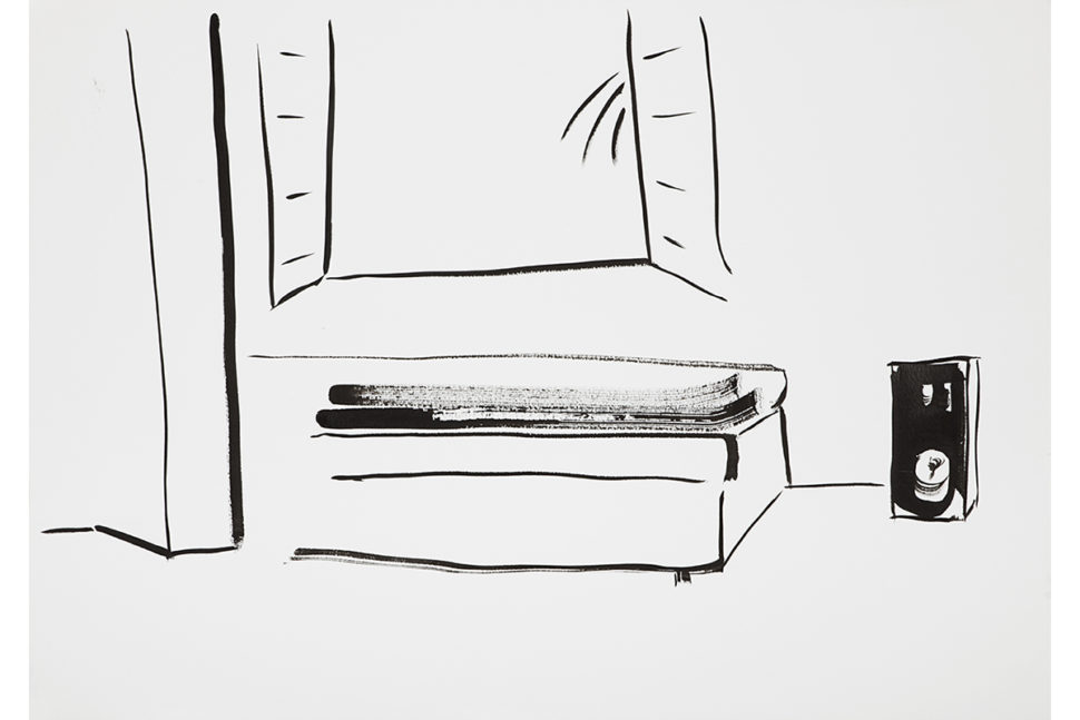 Panos Papadopoulos, My Living Room with Fake Window, 2017, Ink on paper, 59,5 x 42 cm