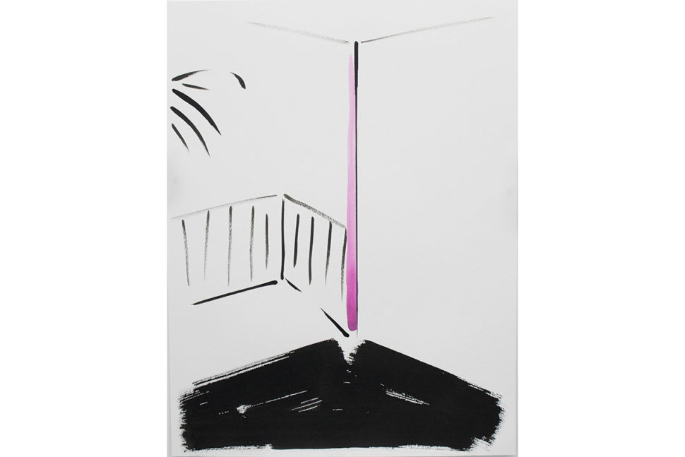 Panos Papadopoulos, Balcony View, 2018, Ink on paper, 65 x 50 cm