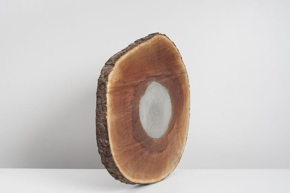 Pyrophyte V, 2015, Elm wood, cement, 45 x 5 x 55 cm