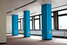 Roeland Tweelinckx, Blue Column, Architectural intervention and the space between, 2014, Wood and paint, Variable dimensions