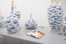 Jessica Lajard, The Seven Smokers, 2014-2016, Glazed porcelain and faience, Various size Produced during the Post-Diploma Kaolin at the École Nationale Supérieure d'Art de Limoges (FR)