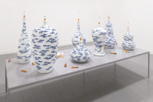 Jessica Lajard, The Seven Smokers, 2014-2016, Glazed porcelain and faience, variable dimensions