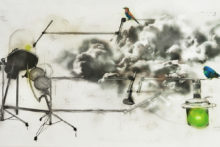 Donato Piccolo, Melodic vaccum project, 2012, Mixed media on paper, 200 x 110 cm