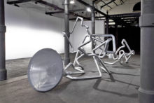Donato Piccolo, Butterfly effect, 2012, Galvanized iron, butterfly, amplifier, speaker, Variable dimensions, Macro Museum Rome (IT)