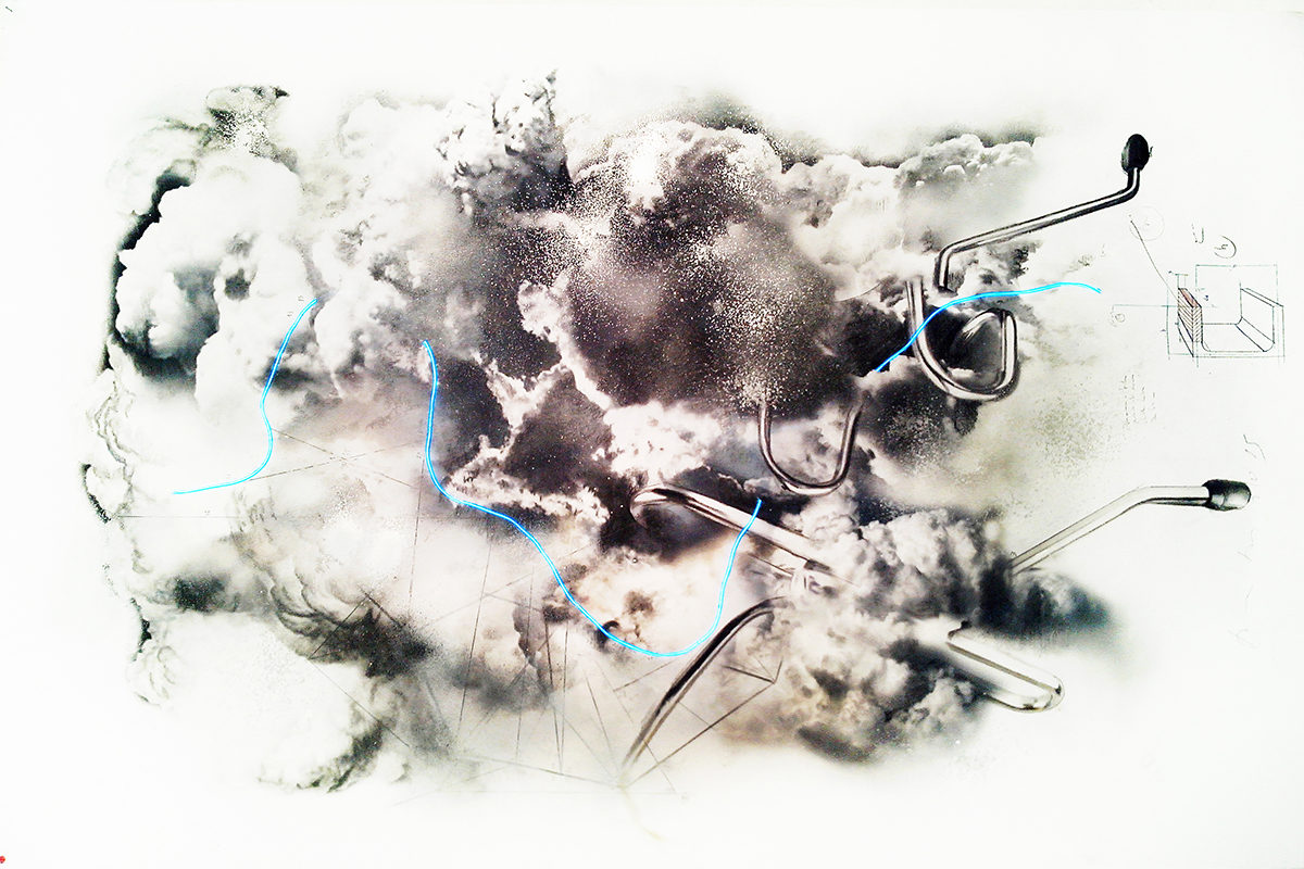 "Donato Piccolo, Explosion of ""General Electric"", 2015, Drawing on paper, 165 x 108 cm"