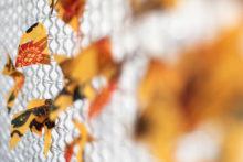 Athina Ioannou, The kimono gardens (yellow), 2019, Linseed oil on fragmented kimono vest, stainless welded wire mesh, iron frame, 100 x 100 x 2,2 cm (detail)