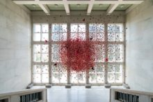 Athina Ioannou, installation view of Silver Plated Gardens Hanging Gardens in