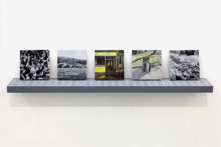 Eirene Efstathiou, Agony is our triumph, 2010, Oil and acrylic on 4 panels, screen printed shelf, each panel 18 x 18 cm
