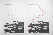 Luclie Bertrand, The Sea/The Sea, 2017, Gouache and printed text on Canson paper, 150 x 100 cm each