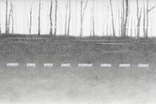 Lucile Bertrand, I'm in transit, 2019, graphite pencil and printed paper on Canson paper 200g, 20 x 80 cm (detail)
