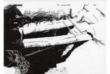 Eirene Efstathiou, Fortification 2, 2014, archival inkjet prints, cyanotype, photo etching, ink drawings, shelf, 21x15 cm