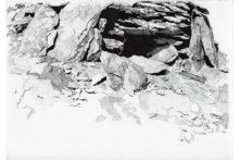Eirene Efstathiou, Fortification 3, 2014, Archival inkjet prints, cyanotype, photo etching, ink drawings, shelf, 21x15 cm