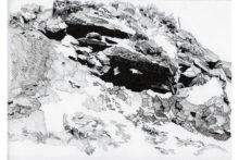 Eirene Efstathiou, Fortification 4, 2014, archival inkjet prints, cyanotype, photo etching, ink drawings, shelf, 21x15 cm