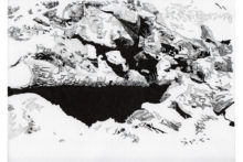 Eirene Efstathiou, Fortification 5, 2014, archival inkjet prints, cyanotype, photo etching, ink drawings, shelf, 21x15 cm