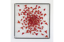 Athina Ioannou, The kimono gardens (red), 2019, Linseed oil on fragmented kimono vest, stainless welded wire mesh, iron frame, 100 x 100 x 2,2 cm
