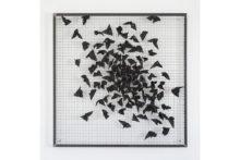 Athina Ioannou, The kimono gardens (indigo), 2019, Linseed oil on fragmented kimono vest, stainless welded wire mesh, iron frame, 100 x 100 x 2,2 cm