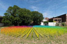 Heidi Voet, When all the world is a hopeless jumble, 2018, 230 laquered crowd-control barriers, 26 meters of diameter