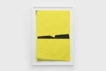 Bernard Villers, Mingeshi noir et jaune 1, 2019, Ink on mingeshi paper, 113 x 80,5 cm (framed)