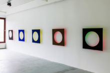 Bernard Villers, Light & color, 2011, tempera, acrylic, found wood, 92 x 92 x 92 x 10 cm, exhibition view final